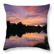 Sunset At Japanese Garden Throw Pillow