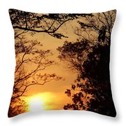 Sunset At Jungle Throw Pillow