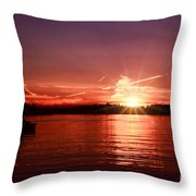 Sunset At Lake Of The Woods Throw Pillow