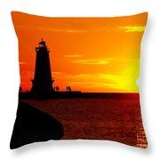 Sunset At Ludington Throw Pillow
