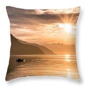 Sunset At Lyngenfjord Throw Pillow