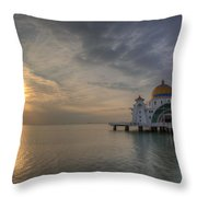 Sunset At Malacca Straits Mosque Throw Pillow