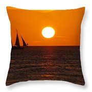 Sunset At Mallory Square Throw Pillow