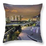 Sunset At Marina Barrage Throw Pillow