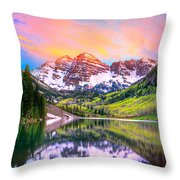 Sunset At Maroon Bells And Maroon Lake Aspen Co Throw Pillow by James O Thompson
