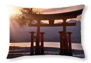 Sunset At Miyajima Throw Pillow