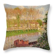 Sunset At Moret Sur Loing Throw Pillow by Camille Pissarro