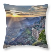 Sunset At Northern Rim Of The Grand Canyon Throw Pillow