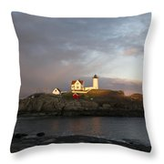 Sunset At Nubble Light Throw Pillow