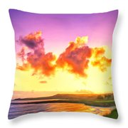 Sunset At Oneloa Beach Maui Throw Pillow