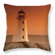Sunset At Peggy's Cove Lighthouse Throw Pillow