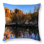 Sunset At Red Rocks Crossing In Sedona Az Throw Pillow by Teri Virbickis