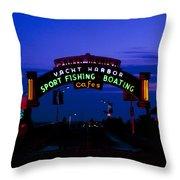 Sunset At Santa Monica Beach Pier Fine Art Photography Print Throw Pillow