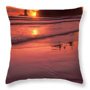 Sunset At Second Beach Olympic National Park Throw Pillow