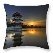 Sunset At Singapore Chinese Garden Throw Pillow