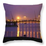 Sunset At Southampton Docks Throw Pillow