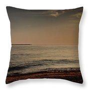 Sunset At The Beach Panorama Throw Pillow