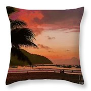 Sunset At The Beach - Puerto Lopez - Ecuador Throw Pillow