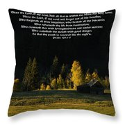 Sunset At The Cabin With Scripture Throw Pillow