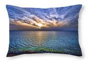 Sunset At The Cliff Beach Throw Pillow by Ron Shoshani