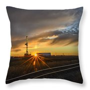 Sunset At The Edge Of Oil Rigs Throw Pillow
