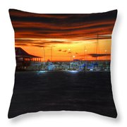 Sunset At The Fairhope Pier Throw Pillow