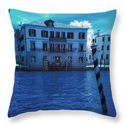 Sunset At The Hotel Canal Grande Venice Italy Near Infrared Blue Throw Pillow