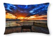 sunset at the port of Tel Aviv Throw Pillow