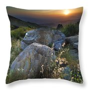 Sunset At The Windy Mountains Throw Pillow