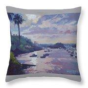 Sunset At Waterlot Throw Pillow