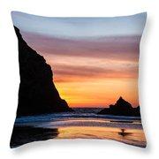 Sunset At Whalehead Beach Throw Pillow
