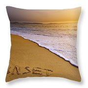 Sunset Beach Throw Pillow by Carlos Caetano