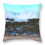Sunset Beach Crashing Wave - Oahu Hawaii Throw Pillow