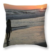 Sunset Beach Silhouette Throw Pillow