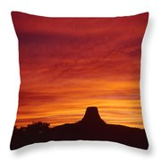 Sunset Behind Devil's Tower Throw Pillow