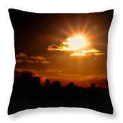 Sunset Behind Ft. Lauderdale By Diana Sainz Throw Pillow