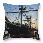 Sunset Behind Hms Warrior Throw Pillow