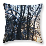 Sunset Behind The Trees Throw Pillow