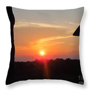 Sunset Between Tree And Barn Throw Pillow