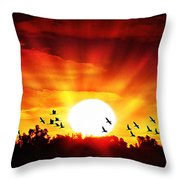 Sunset Birds Throw Pillow