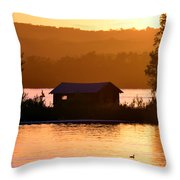 Sunset Boat House Throw Pillow