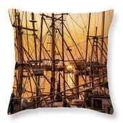 Sunset Boat Masts At Dock Morro Bay Marina Fine Art Photography Print Sale Throw Pillow