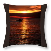 Sunset Boaters Throw Pillow
