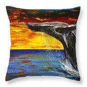 Sunset Breach Throw Pillow