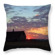 Sunset By The Barn Throw Pillow