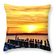 Sunset By The Dock Throw Pillow