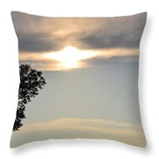 Sunset By Tree Throw Pillow
