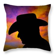 Sunset Cowboy Throw Pillow