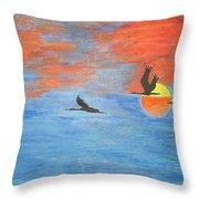Sunset Cranes Throw Pillow