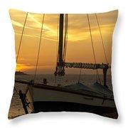 Sunset Dinghy Throw Pillow